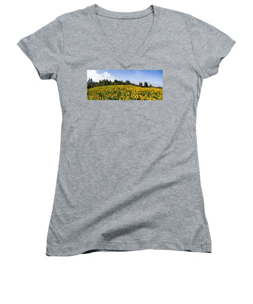 Sunflower Horizon Number 2 Women's V-Neck (Athletic Fit)