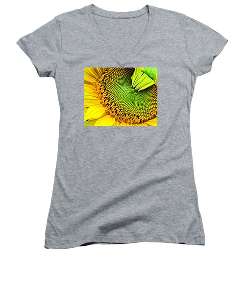 Kaleidescope Sunflower Women's V-Neck (Athletic Fit)