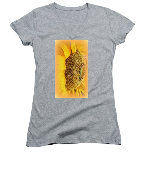 Sunflower Women's V-Neck T-Shirt (Junior Cut) by Kay Novy
