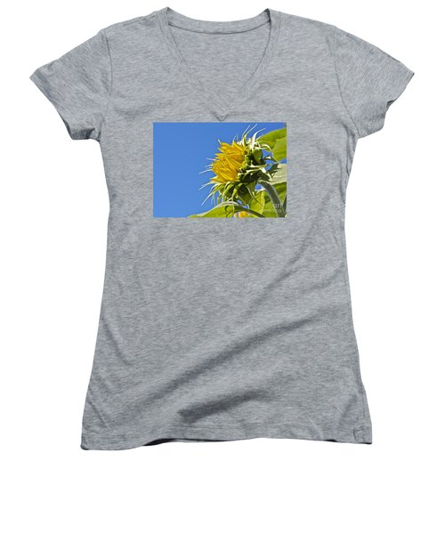 Women's V-Neck T-Shirt (Junior Cut) featuring the photograph Sunflower by Linda Bianic