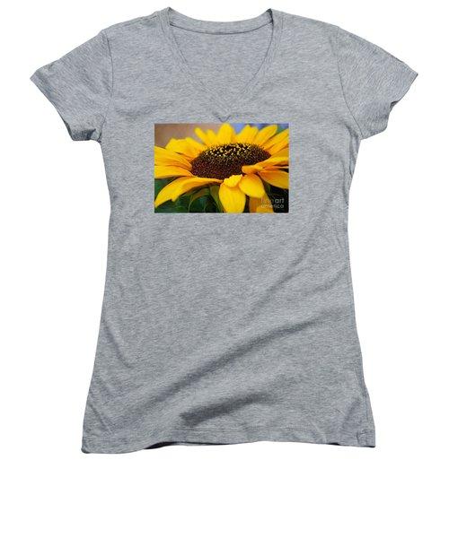 Women's V-Neck T-Shirt (Junior Cut) featuring the photograph Sunflower Portrait Two by John S