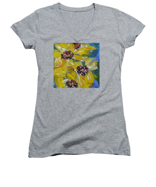Women's V-Neck T-Shirt featuring the painting Sunflower Quartet by Judith Rhue