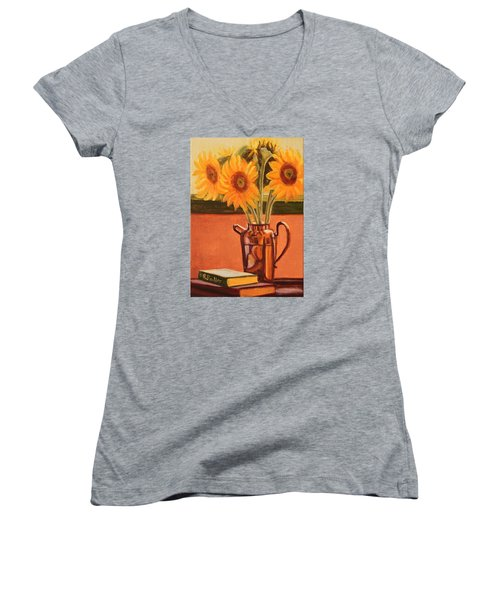Sunflower Still Life Women's V-Neck (Athletic Fit)
