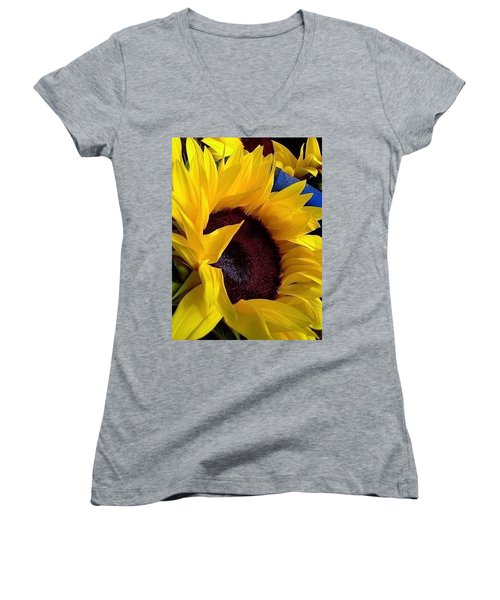 Women's V-Neck T-Shirt (Junior Cut) featuring the photograph Sunflower Sunny Yellow In New Orleans Louisiana by Michael Hoard