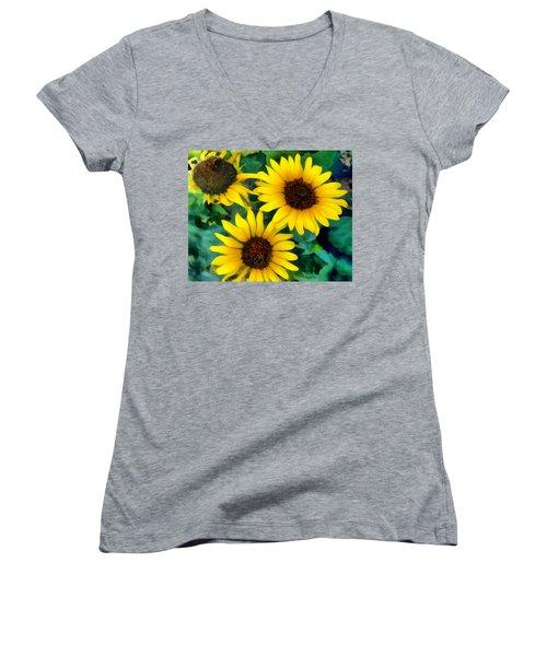 Women's V-Neck T-Shirt (Junior Cut) featuring the photograph Sunflower Trio  by Ann Powell