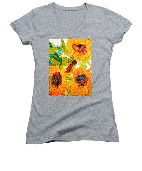Sunflower Trio Women's V-Neck (Athletic Fit)