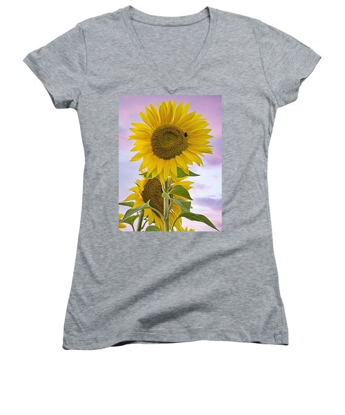 Sunflower With Colorful Evening Sky Women's V-Neck T-Shirt