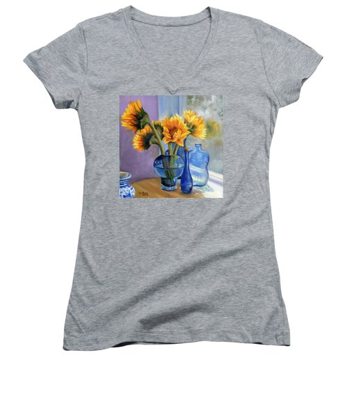 Sunflowers And Blue Bottles Women's V-Neck T-Shirt