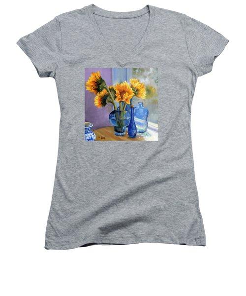 Sunflowers And Blue Bottles Women's V-Neck T-Shirt (Junior Cut) by Marlene Book