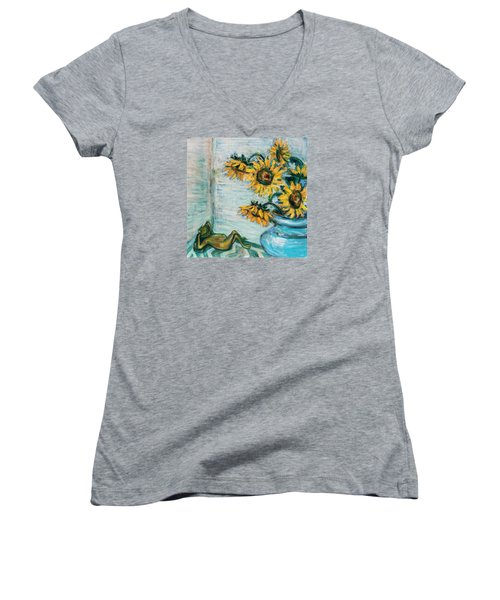 Sunflowers And Frog Women's V-Neck