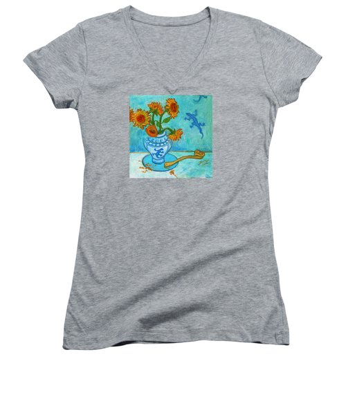 Women's V-Neck T-Shirt featuring the painting Sunflowers And Lizards by Xueling Zou