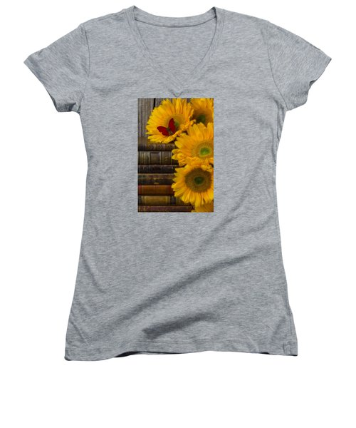Sunflowers And Old Books Women's V-Neck T-Shirt (Junior Cut) by Garry Gay
