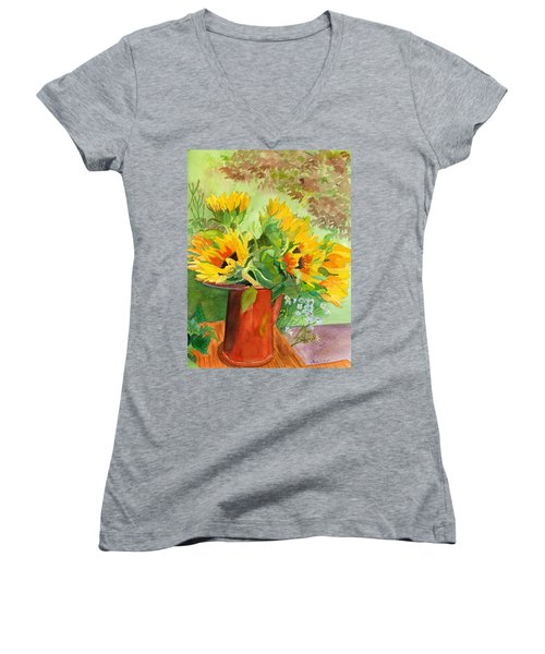Sunflowers In Copper Women's V-Neck T-Shirt (Junior Cut) by Lynne Reichhart
