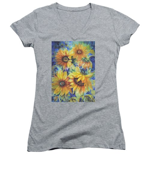 Sunflowers On Blue I Women's V-Neck (Athletic Fit)