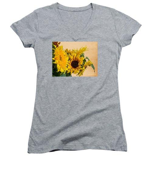 Sunflowers On Old Paper Background Art Prints Women's V-Neck T-Shirt (Junior Cut) by Valerie Garner