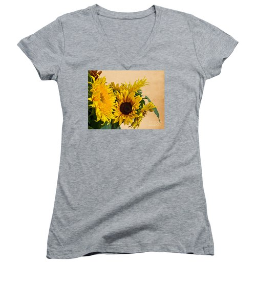 Sunflowers On Old Paper Background Art Prints Women's V-Neck (Athletic Fit)