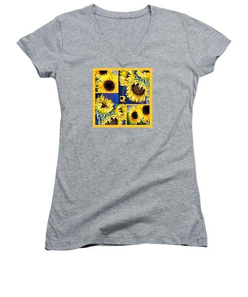 Sunflowers Sunny Collage Women's V-Neck T-Shirt (Junior Cut) by Irina Sztukowski