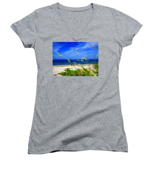 Women's V-Neck T-Shirt (Junior Cut) featuring the digital art Sunlit Beachgrass by Anthony Fishburne