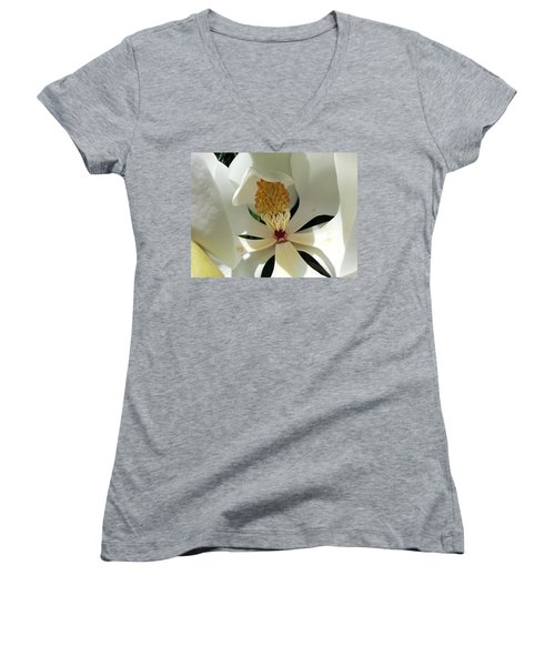 Women's V-Neck T-Shirt (Junior Cut) featuring the photograph Sunny And Shy Magnolia by Caryl J Bohn