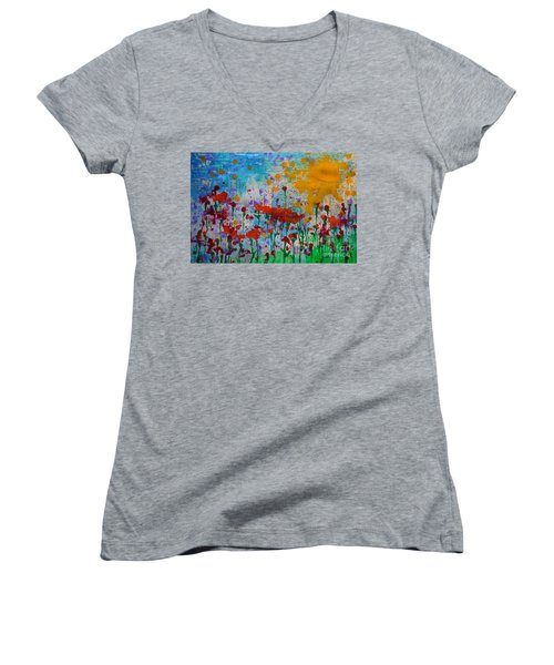 Sunny Day Women's V-Neck T-Shirt (Junior Cut) by Jacqueline Athmann