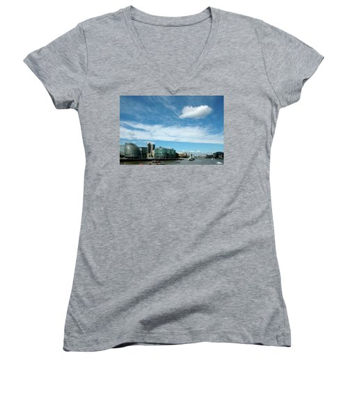 Women's V-Neck T-Shirt (Junior Cut) featuring the photograph Sunny Day London by Jonah  Anderson