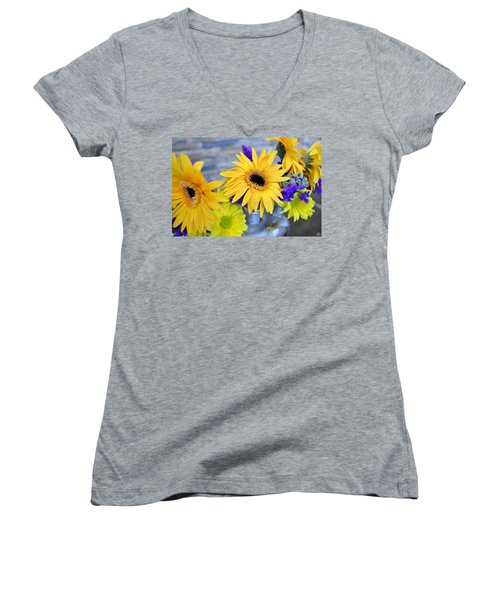 Women's V-Neck T-Shirt (Junior Cut) featuring the photograph Sunny Days by Ally  White