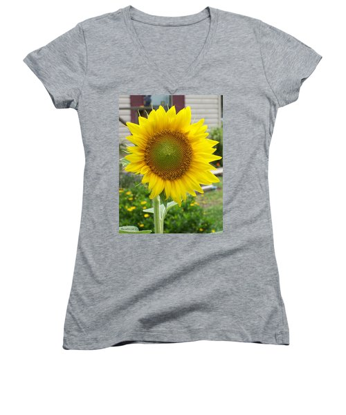 Women's V-Neck T-Shirt (Junior Cut) featuring the photograph Bright Sunflower Happiness by Belinda Lee