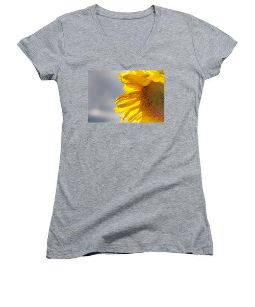 Women's V-Neck T-Shirt (Junior Cut) featuring the photograph Sunny Sunflower by Cheryl Baxter