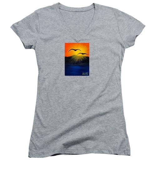 Sunrise And Two Seagulls Women's V-Neck T-Shirt