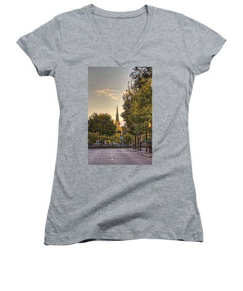 Women's V-Neck T-Shirt (Junior Cut) featuring the photograph Sunrise At The End Of The Street by Daniel Sheldon