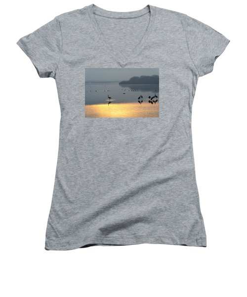 Sunrise Over The Hula Valley Israel 1 Women's V-Neck