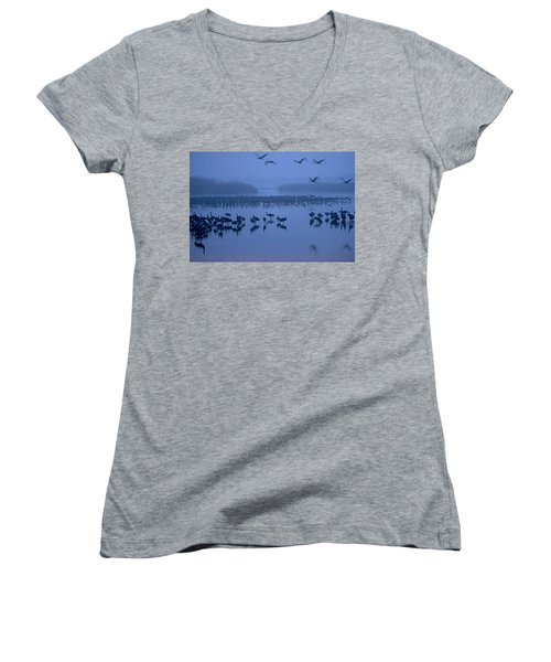 Sunrise Over The Hula Valley Israel 4 Women's V-Neck