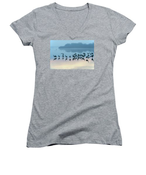 Sunrise Over The Hula Valley Israel 5 Women's V-Neck