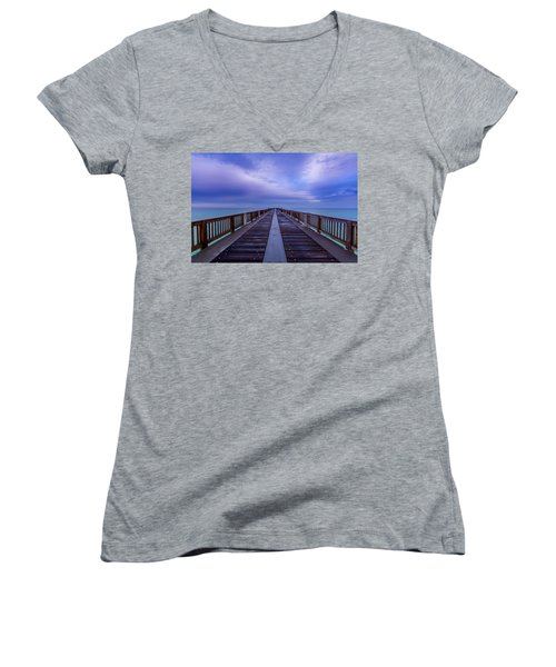 Sunrise At The Panama City Beach Pier Women's V-Neck T-Shirt