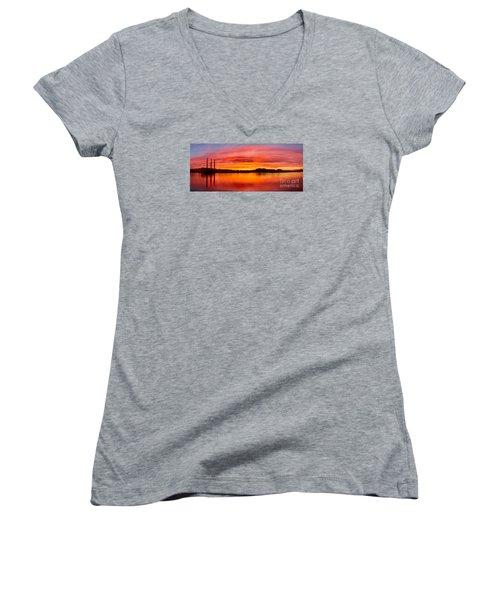 Sunrise Bay Women's V-Neck T-Shirt (Junior Cut) by Alice Cahill