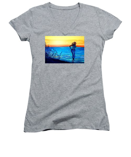 Women's V-Neck T-Shirt (Junior Cut) featuring the painting Sunrise Blues by Ecinja Art Works