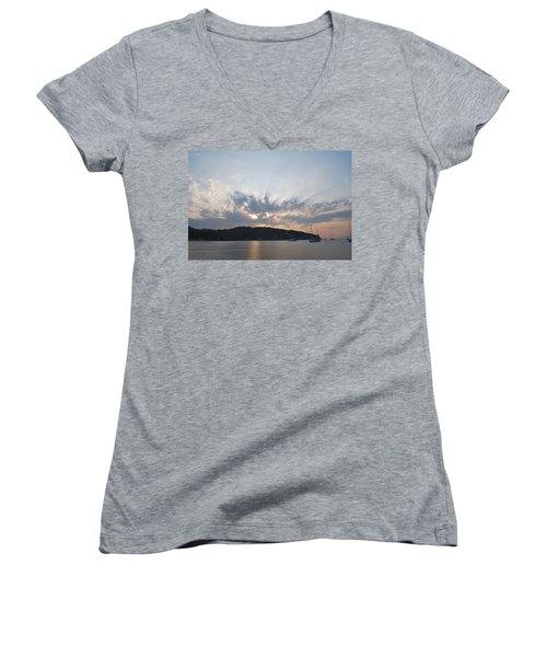 Women's V-Neck T-Shirt (Junior Cut) featuring the photograph Sunrise by George Katechis