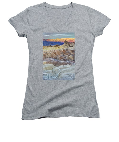 Sunrise In Death Valley Women's V-Neck T-Shirt (Junior Cut) by Juli Scalzi