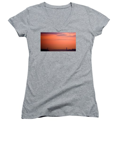 Women's V-Neck T-Shirt (Junior Cut) featuring the photograph Sunrise In New York by Sara Frank