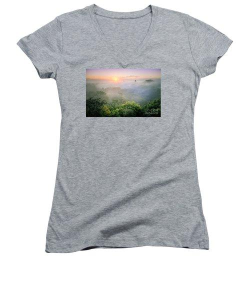 Sunrise In Tikal Women's V-Neck