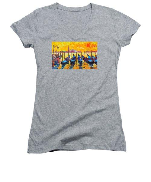 Sunrise In Venice Italy Gondolas And San Giorgio Maggiore Women's V-Neck T-Shirt (Junior Cut) by Ana Maria Edulescu