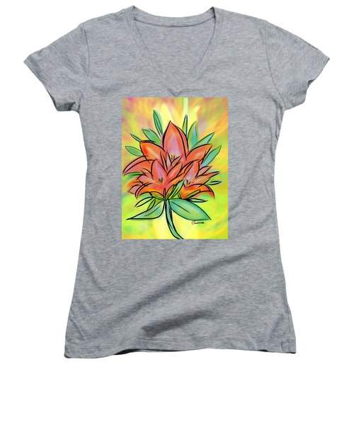 Sunrise Lily Women's V-Neck T-Shirt (Junior Cut) by Christine Fournier