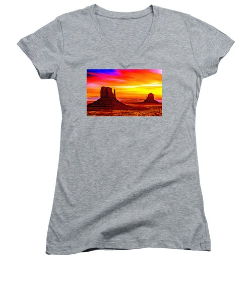 Sunrise Monument Valley Mittens Women's V-Neck (Athletic Fit)
