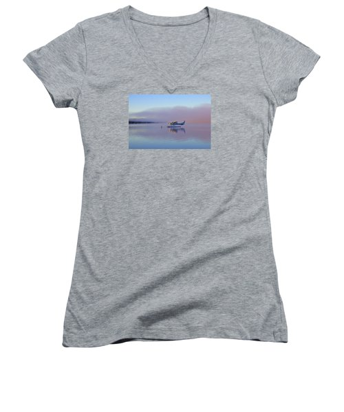 Sunrise On Lake Te Anu Women's V-Neck T-Shirt (Junior Cut) by Venetia Featherstone-Witty