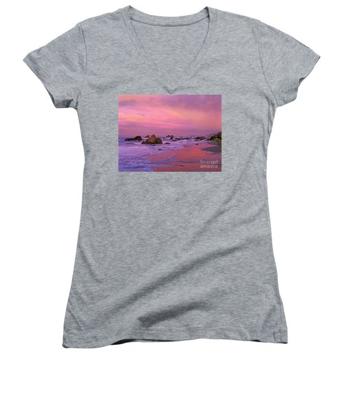 Women's V-Neck T-Shirt (Junior Cut) featuring the photograph Sunrise On Sea Stacks Harris Sb Oregon by Dave Welling