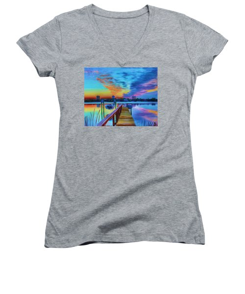 Sunrise On The Dock Women's V-Neck
