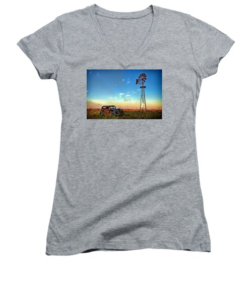 Women's V-Neck T-Shirt (Junior Cut) featuring the photograph Sunrise On The Farm by Ken Smith