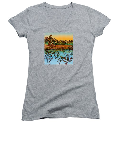 Sunrise On Willows Women's V-Neck T-Shirt