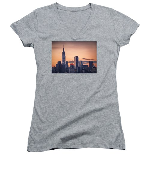 Manhattan Sunrise Women's V-Neck T-Shirt