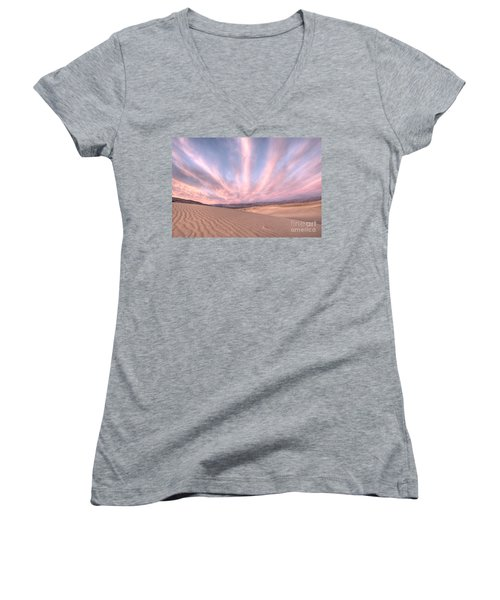 Sunrise Over Sand Dunes Women's V-Neck (Athletic Fit)